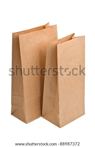 Brown empty Shopping Paper Bags, isolated on white background