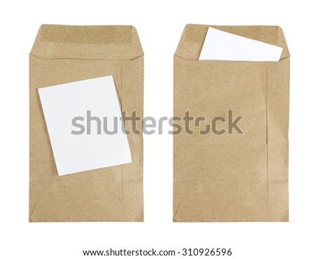 Brown Envelope document with paper isolated on white background. - stock photo