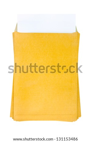 Brown Envelope document with paper on white background - stock photo