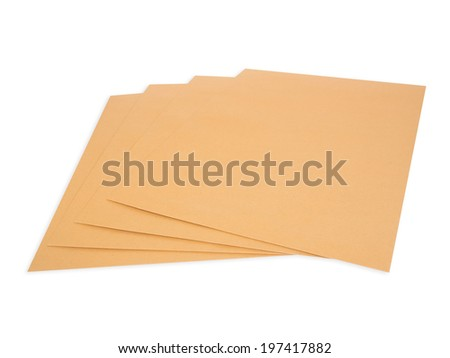 brown envelope  isolate with clipping path - stock photo