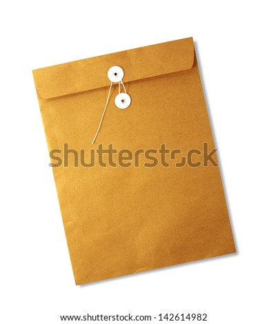 Brown envelope isolated on white background