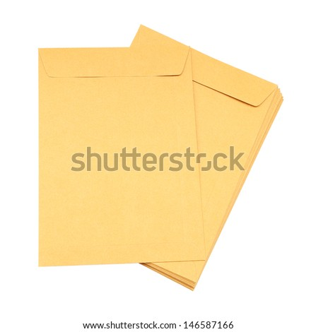 brown envelope on white background (with clipping path) - stock photo