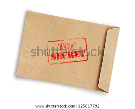 "Brown envelope stamp ""Top Secret"" isolated on white background. - stock photo"