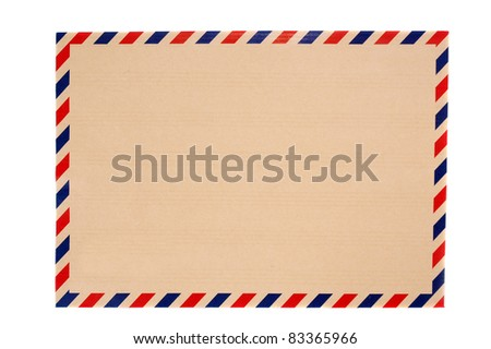 brown envelope with blue and red striped