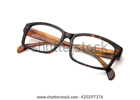 Brown eyeglasses on white background