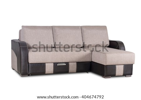 Brown fabric and  leather sofa