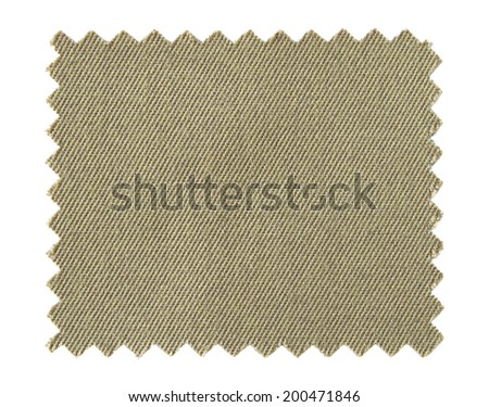 brown fabric swatch samples isolated on white background - stock photo