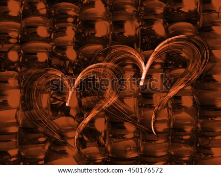 brown fantasy line heart gradient colored background