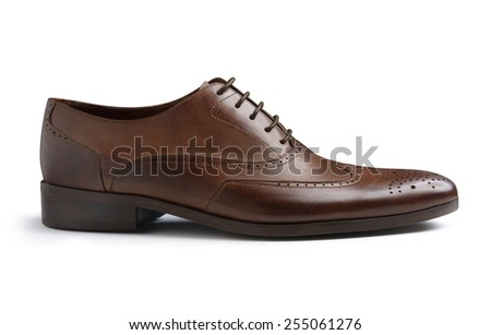 Brown Fashion Male Shoe Isolated on White Background - stock photo