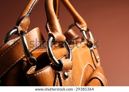 brown fashionable woman bag - stock photo