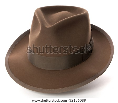 Brown fedora hat on white background