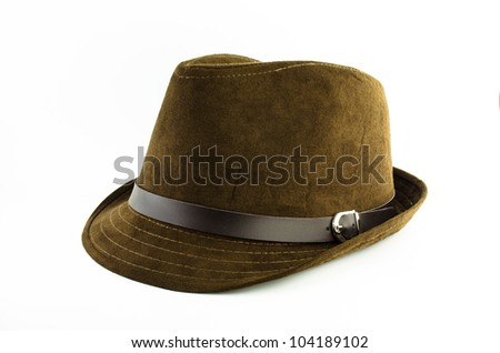 brown flannel hat with leather belt isolated on white background