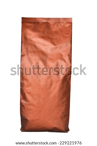 Brown foil bag pack isolated on white background - stock photo
