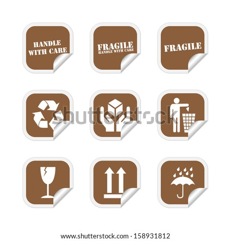 Brown fragile stickers. Vector available. - stock photo