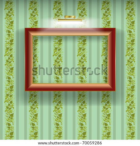 brown frame with spotlight on green wallpaper
