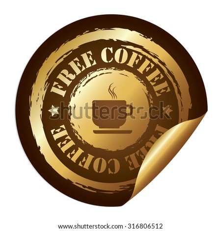 Brown Free Coffee Infographics Peeling Sticker, Label, Icon, Sign or Badge Isolated on White Background  - stock photo