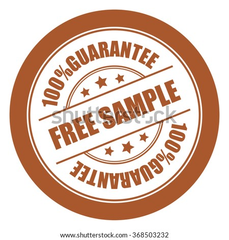 Brown Free Sample 100% Guarantee Campaign Promotion, Product Label, Infographics Flat Icon, Sign, Sticker Isolated on White Background  - stock photo