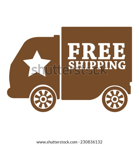 Brown free shipping icon, tag, label, badge, sign, sticker isolated on white  - stock photo