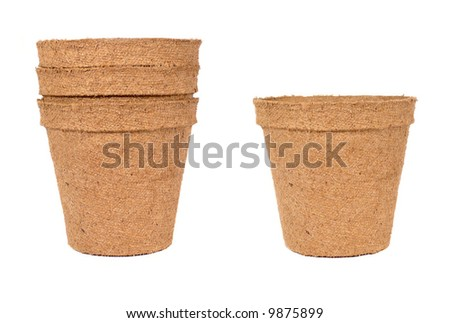 Brown gardening pots isolated over a white background - stock photo
