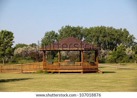 brown gazebo - stock photo