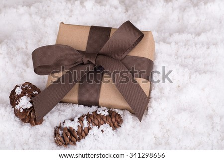 Brown gift and pine cones laying on snow - stock photo