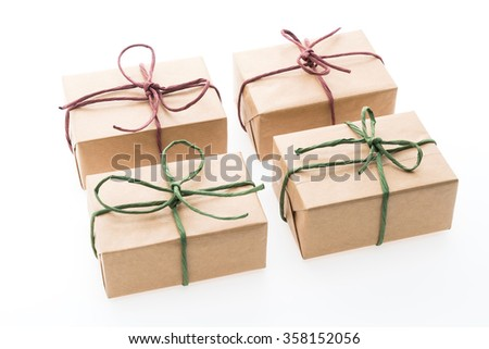 Brown gift box isolated on white background