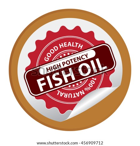 Brown Good Health High Potency Fish Oil 100% Natural Infographics Icon on Circle Peeling Sticker Isolated on White Background