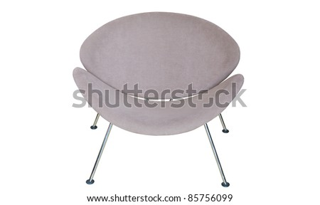 brown gray modern chair isolated on white background - stock photo