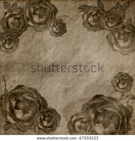 Brown grunge roses background in vintage style - stock photo