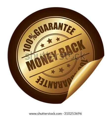 Brown 100% Guarantee Money Back Infographics Peeling Sticker, Label, Icon, Sign or Badge Isolated on White Background - stock photo
