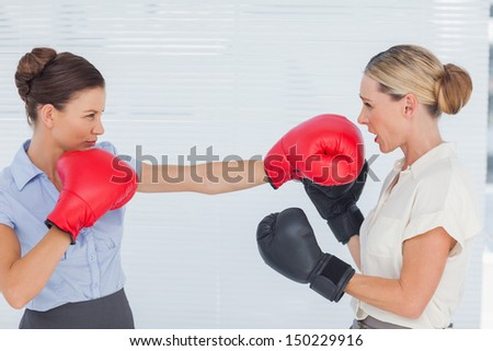 Brown haired businesswoman punching her blond colleague during boxing match in bright office