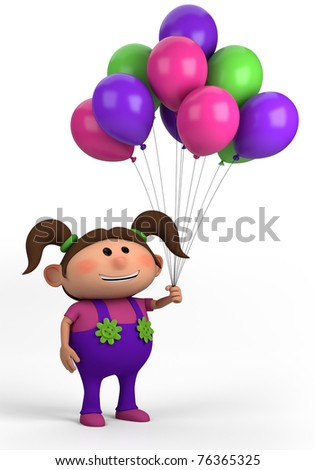 brown-haired girl with balloons; high quality 3d illustration - stock photo