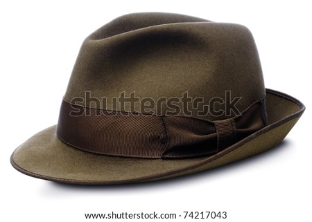 brown hat - homburg type - isolated on white with clipping path - stock photo