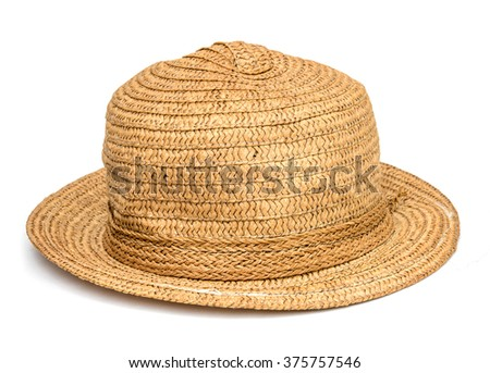 brown hat on white