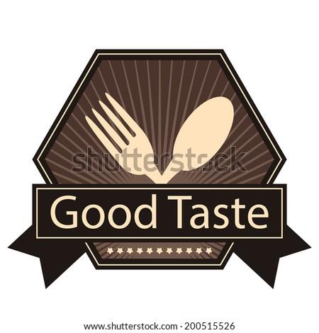 Brown Hexagon Vintage Style Good Taste Icon, Sticker, Badge or Label Isolated on White Background - stock photo