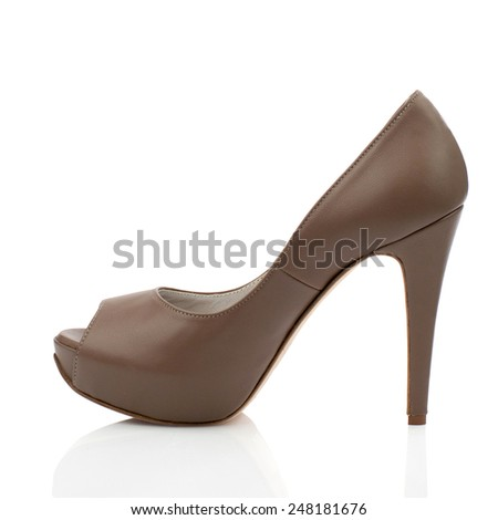 Brown high heel shoe isolated on white background.