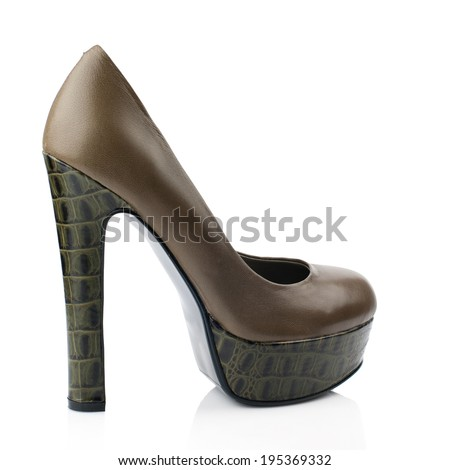 Brown   high heel women shoe isolated on white background.Please, look for more photos like this in my sets.