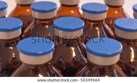 Brown injection bottles - stock photo