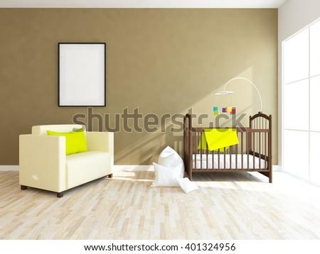 Brown interior of a nursery. 3d illustration - stock photo