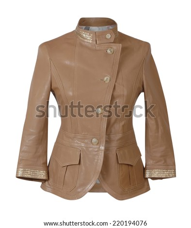 brown jacket isolated on white - stock photo