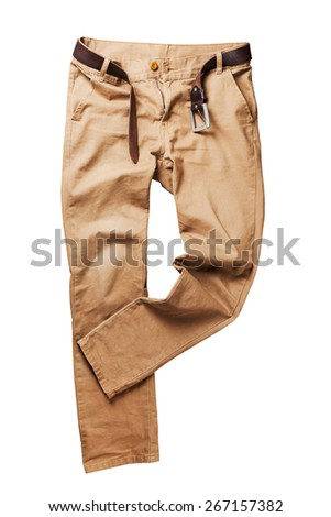 Brown jeans trouser over white background - stock photo