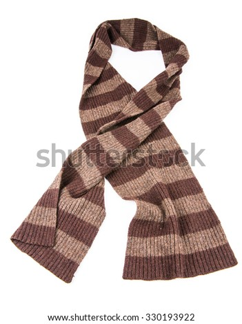 Brown Knit scarf isolated on white background - stock photo