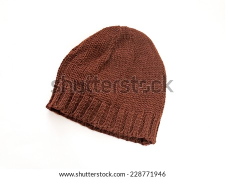 Brown knitted cap isolated on white background