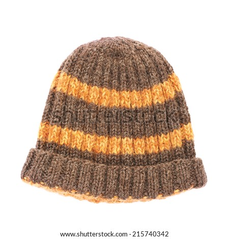 Brown knitted head cap with the orange stripes, isolated over the white background - stock photo
