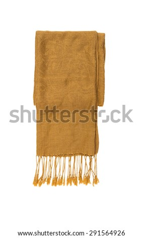 Brown knitted winter scarf on a white isolate with clipping paths for decorate project. - stock photo