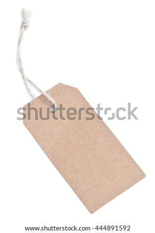 brown label tag isolated on white