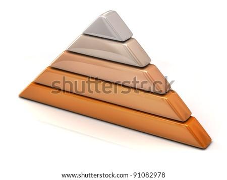 Brown layered pyramid chart 3d - stock photo