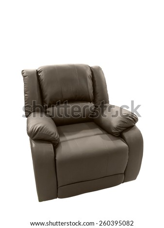 Brown Leather arm chair isolated on white background - stock photo
