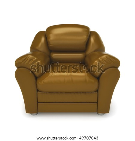 Brown leather armchair isolated on a white background - stock photo