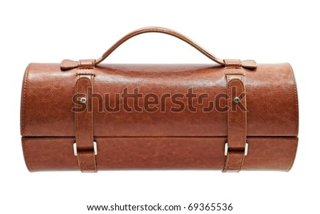 Brown leather bag for cosmetic or jewelry isolated - stock photo